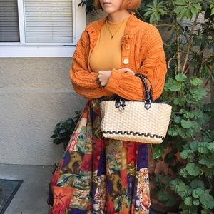 Straw/leather Brighton purse